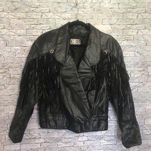 Genuine Leather Biker Moto Fringe Black Jacket LG